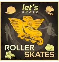 Roller Skates Vintage Poster vector