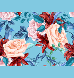 rose lily bouquet seamless pattern vector image