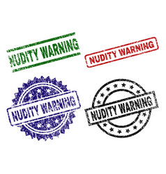 Scratched textured nudity warning seal stamps vector