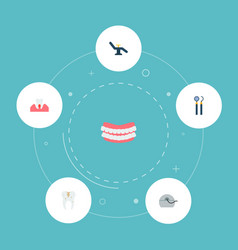 Set enamel icons flat style symbols with caries vector