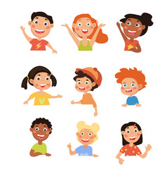 set happy smiling diverse young children vector image