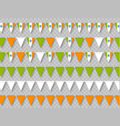 set indian bunting flags traditional tricolor vector image
