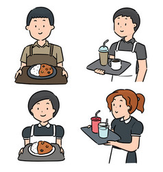 Set waiter and waitress vector