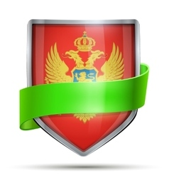 Shield with flag montenegro and ribbon vector