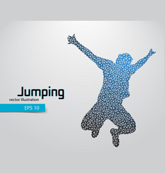 silhouette of a jumping man from triangles vector image