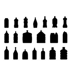 silhouette of plastic water bottle clean vector image