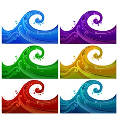 Six colorful waves vector image vector image