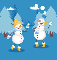 snowmen having snowball fight banner vector image