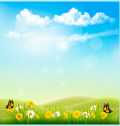 Spring nature background with a green grass vector