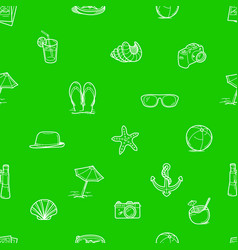 summer travel doodle style elements green vector image