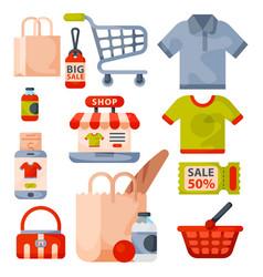 Supermarket grocery shopping retro cartoon icons vector
