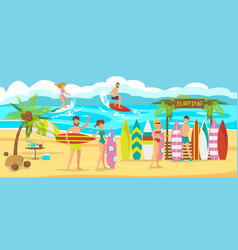 surfing on beach vector image