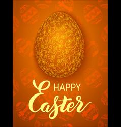 the golden easter egg on a floral background vector image