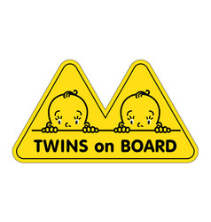 Twins in car sticker fases of baby boys and logo vector