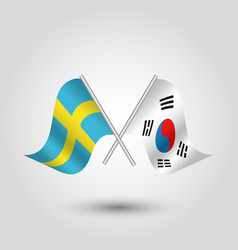 Two crossed swedish and korean flags vector