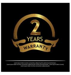 Two years warranty golden label vector
