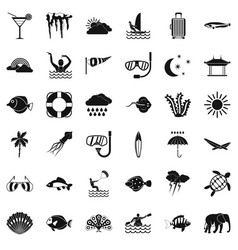 Underwater diving icons set simple style vector