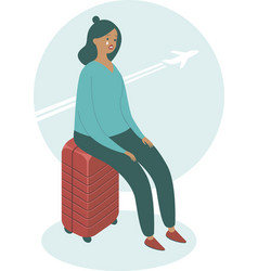 Upset woman sitting on her suitcase vector