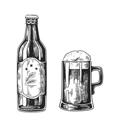 vintage pub glass mugs with beer hand drawn vector image