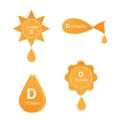 vitamin d icons set vector image