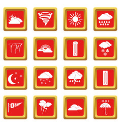 Weather set icons set red vector