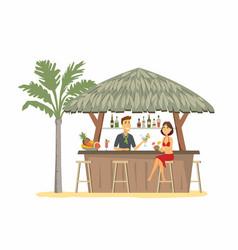 woman at beach bar - cartoon people character vector image