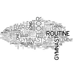 Womens gymnastic elements text word cloud concept vector