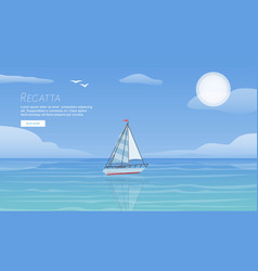 yacht regatta on wave blue sea ocean vector image