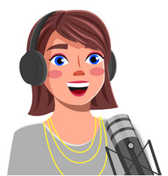 Young girl with headphones singing a song or vector