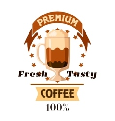Cappuccino latte coffee cup cafe label vector image vector image