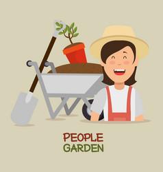 farmer gardener young woman cartoon vector image