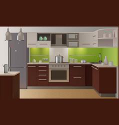 colored kitchen interior vector image