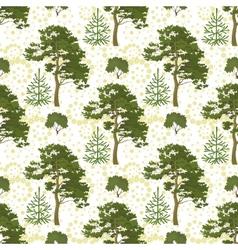 Seamless trees and floral pattern vector image vector image