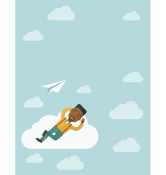 Black man lying on a cloud with paper plane vector image