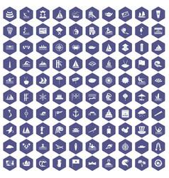 100 sailing vessel icons hexagon purple vector