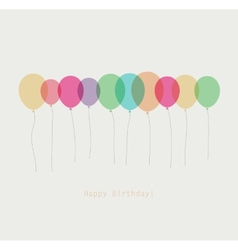 Birthday card with colorful transparent balloons vector image