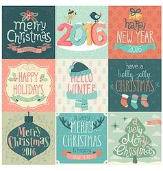 christmas emblems handdrawn vector image