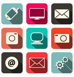 Retro Technology Internet Communication Icons Set vector image vector image