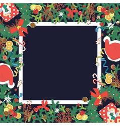 Top view Christmas decoration copyspace vector image