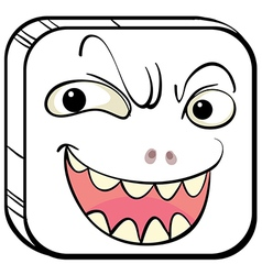 A smiling face in a square vector image