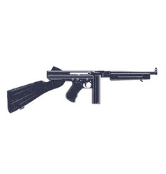 american submachine gun over white vector image