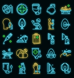 anesthesia icons set neon vector image