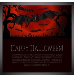 Big halloween banner with black scary bats on the vector image