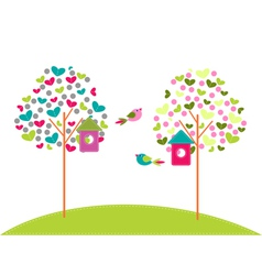 Birdhouses on trees vector