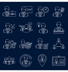 Business and management icons outline vector image