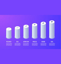 Business infographics bar chart graph with 6 vector