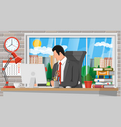 businessman at work modern office workspace vector image
