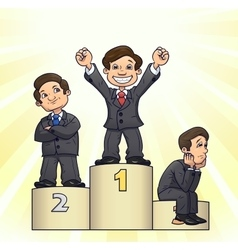 Businessmen are standing on pedestal 3 vector