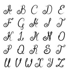 Calligraphy alphabet black vector