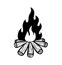 camp fire on white background design element for vector image